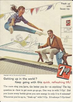 Feelin' 7UP, I'm feelin' 7UP, especially after seeing this great 1961 ad featuring a bouncing babe on a trampoline and her keen boyfriend watching.
