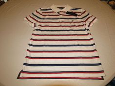 Mens Tommy Hilfiger Polo shirt S Striped 7880997 classc white 100 Custom Fit NEW #TommyHilfiger #polo