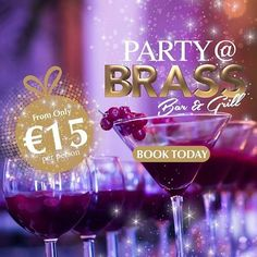Book your staff Christmas Party @ the Brass Bar and Grill. Finger food, cocktails and plenty of dancing all for only Call 01 2001800 to book your party now. Alcoholic Drinks, Cocktails, Party Venues, Xmas Party, Hotel S, Finger Foods, Talbots, Red Wine, Foodies