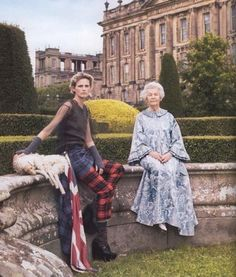 Model Stella Tennant and her grandmother the Duchess of Devonshire at their family estate Chatsworth House.