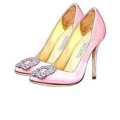 Fashion Art, Manolo Blahnik Hangisi Satin Pump Light Pink Watercolor Illustration, Wall Art Decor, Bridesmaid Gift