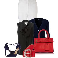 Office outfit: Navy - Black - Red - White by downtownblues on Polyvore featuring Moschino, NYDJ, Jessica Simpson, Reed Krakoff and Vanzetti