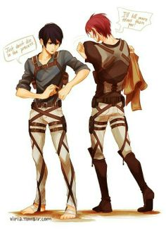 Free! and Attack on Titan: Haru and Rin...soooo Haru is Mikasa and Rin Eren??