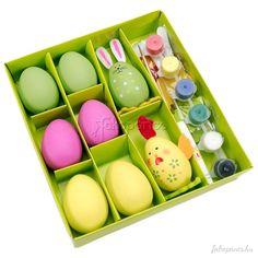 Készíts+magadnak+egyedi+húsvéti+nyuszit+és+csibét+húsvétra!A+készlet+tartalma:1+db+előre+elkészített+tojás+nyuszi1+db+előre+elkészített+tojás+csibe6+db+tojás1+db+ecset1+db+festékkészletragasztófilc... Easter Eggs, Cube, Tray, Trays, Board