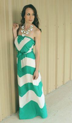 Chevron Stripe Strapless Maxi Dress - SoCo Vintage