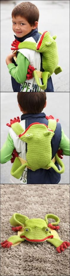 Crochet Iphone Crochet Frog Backpack with Free Pattern - These crochet backpack look great and make beautiful handmade gifts too! We've rounded up a fantastic collection of FREE Crochet Backpack Patterns. Crochet Frog, Crochet Shell Stitch, Crochet Baby, Knit Crochet, Free Crochet, Crochet Crafts, Crochet Toys, Crochet Projects, Crochet Backpack Pattern
