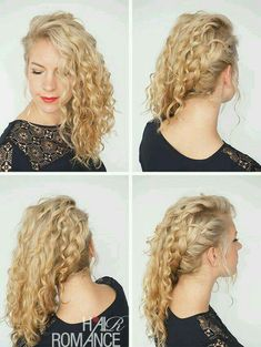Hair Romance - 30 Curly Hairstyles in 30 Days - Day 10 - Side swept braid curly hair styles 30 Curly Hairstyles in 30 Days - Day 10 Curly Hair Styles, Curly Hair With Bangs, Short Curly Hair, Hairstyles With Bangs, Easy Hairstyles, Natural Hair Styles, Wedding Hairstyles, Short Curls, Curly Braided Hairstyles