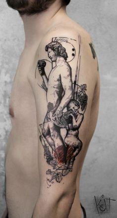 Dionysus arm tattoo by KOit, Berlin. Graphic style tattoo | Inked arm | Tattoo ideas | KOit Tattoo | Tattoo artist | Germany tattoo artists | Greek Mythology tattoo | Compass tattoo | tattoos for guys | Tattooed boy | Half sleeve | Body art | Inspiration | Black tattoo | Graphic design | Illustration | Art | Body art | Tatouage | Tätowierung | Tatuaggio | Tatuaż | Tatuaje