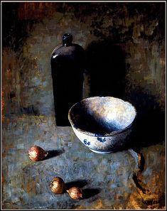 """chasingtailfeathers:    N. C. Wyeth  """"Still Life with Bowl, Onions and Bottle"""" Oil on canvas,Brandywine River Museum"""