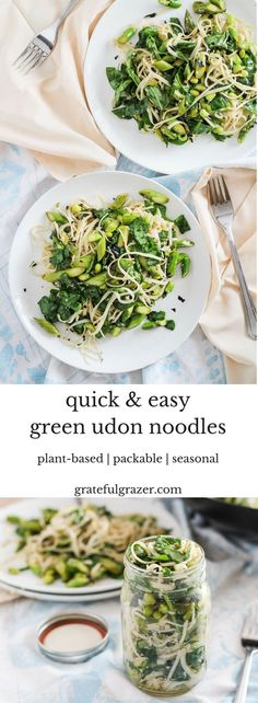 Udon Noodles with Asparagus and Greens. A quick and easy plant-based meal that can be served warm, room temperature, or cold. Great for packed lunches! via @gratefulgrazer