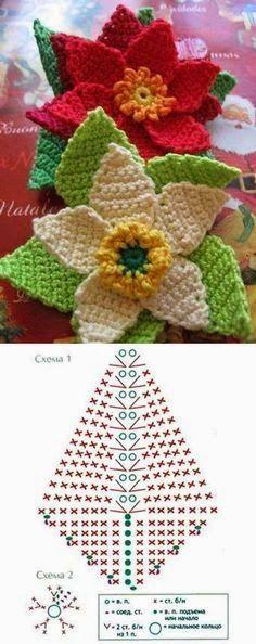 New Ideas Crochet Christmas Flowers Mom Crochet Diy, Crochet Motifs, Crochet Flower Patterns, Crochet Diagram, Crochet Chart, Crochet Squares, Irish Crochet, Crochet Doilies, Crochet Stitches