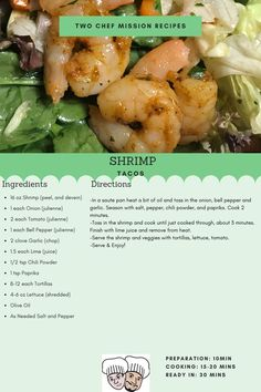 Spiced shrimp tacos ready to be cooked. Serving size for for four Chef Mission Shrimp Taco Recipes, Shrimp Tacos, 10 Minute Meals, Meals For Four, Taco Ingredients, Serving Size, Meal Planning, Spices, Stuffed Peppers