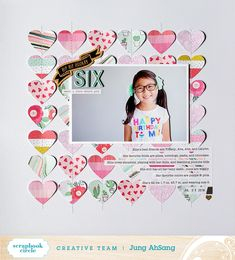 Scrapbook Layout Birthday Circles - Six, featuring Scrapbook Circle. Birthday Scrapbook Layouts, Scrapbook Page Layouts, My Scrapbook, Scrapbook Paper Crafts, Picture Layouts, Love Notes, Scrapbooks, How To Make Bows, Crafty