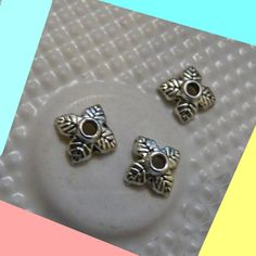 Floral Bead Caps, 6x6mm Antique Silver Tone Leaf Bead Caps End Spacers Metal Bead Caps Beading Findings, DIY Jewelry by TikisCraftShop on Etsy