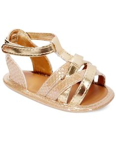 First Impressions Baby Girls' Gold-Tone Snake-Print Sandals