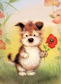 Lisi Martin Tatty Teddy, Vintage Greeting Cards, Cute Gif, Cute Illustration, Christmas Art, Dog Art, Cute Wallpapers, Spanish Artists, Dogs
