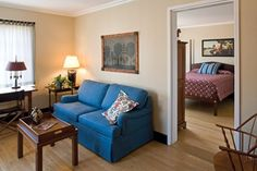Williamsburg Lodge Suite- A Vibrant Retreat. Retreat to this inviting 500-square-foot suite tastefully furnished with folk art.