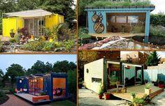 shipping container garden room in backyard