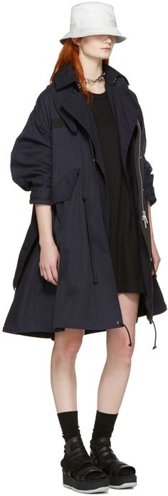 Sacai: Black Dot Lace T-Shirt Dress | SSENSE