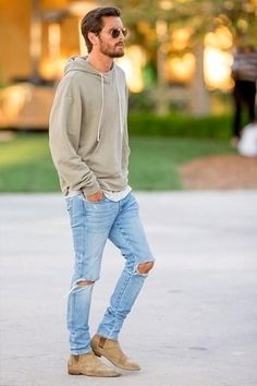 Men's Olive Hoodie, Grey Crew-neck T-shirt, Light Blue Ripped Jeans, Tan Suede Chelsea Boots