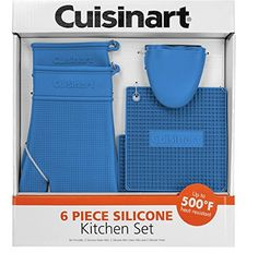Cuisinart  6 Piece Silicone Kitchen Set  Oven Mitts  Trivett  Matts Blue * Click image for more details.