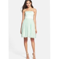 Nwt Eliza J Mint Polka Dot Chiffon Dress Size 6