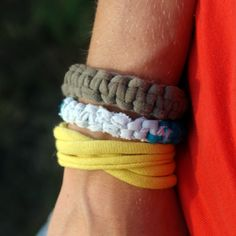 I'm always cutting up shirts! Make Bracelets from T-Shirts at Saved By Love Creations. Gotta try this at some point!