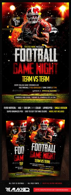 Football Game Night Flyer Template PSD by REMAKNED Features this itemPrint Dimensions: 46 Resolution: 300dpi CMYK color All text is editable // Change for your own text easily Free