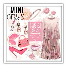 """""""Pretty in Pink #minidress"""" by shaheenk ❤ liked on Polyvore featuring Furla, Casadei, Nails Inc., Effy Jewelry, Givenchy, Alexis, party and minidress"""
