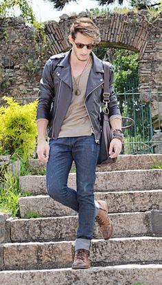 www.rodrigoperek.com - leather jacket, outfit, men style.