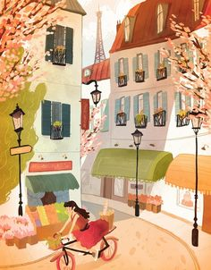 springtime in paris, illustration by natalie andrewson Art And Illustration, Illustration Inspiration, Illustrations Posters, Springtime In Paris, Paris 3, Tour Eiffel, Oeuvre D'art, Cute Art, Concept Art