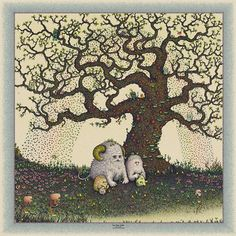 "Marq Spusta's ""The Tree & We""  23 x 23"" Screen Print  Edition of 150"