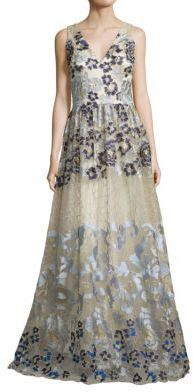 David Meister Embroidered Ball Gown