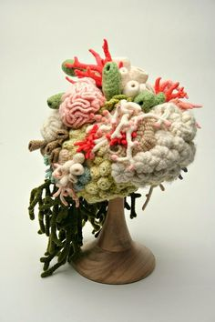 Crocheted Coral Garden Hat. For a horse race by the ocean.  Ha