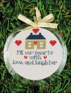 """Clear 3 1/2"""" acrylic frame to show off your cross stitch, photos, or artwork.  Works great with perforated paper.  Back snaps in.  Add your own ribbon or cord to hang.  Design area 2 7/8"""""""