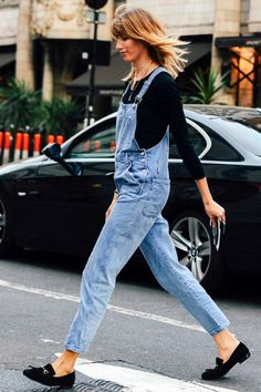 Street Style: Veronika Heilbrunner | Overalls + Loafers In London