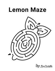 Maze Worksheet, Preschool Worksheets, Mazes For Kids Printable, Free Printables, Educational Activities For Kids, Toddler Activities, Lemon Pictures, Lemon Crafts, Activity Sheets For Kids