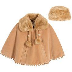 Couche Tot - Girls Camel Brown Velvet Cape & Hat Set | Childrensalon