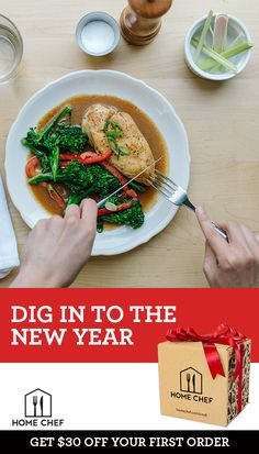 Home Chef's meal kits are the perfect way to start the New Year right. Sign up for our weekly meal delivery service, which has everything you need to prepare a home-cooked dinner in about 30 minutes. Broaden your culinary horizons and try Home Chef today.