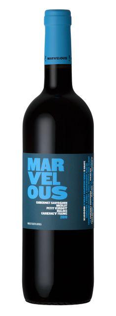 Marvelous Blue A blend of Cabernet Sauvignon, Merlot, Petit Verdot, Malbec and Cabernet Franc Cabernet Sauvignon, Wines, Red Wine, Alcoholic Drinks, Bottle, Glass, Blue, Alcoholic Beverages, Drinkware