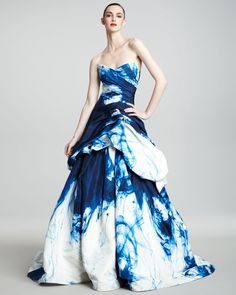 Monique Lhuillier Strapless Ink-Print Ballgown