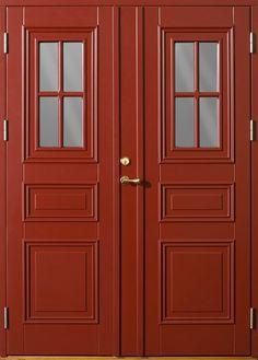 Ekstrands pardörr Park 870 G12 SP1:1, Tillval: Kulör svenskröd 1596, Dubbelt anslag. #Ekstrands #dörr #dörrar #pardörr #pardörrar #ytterdörr #ytterdlörrar #Park House By The Sea, Nagano, Airstream, Colonial, Tall Cabinet Storage, Old Things, New Homes, Design Inspiration, Park