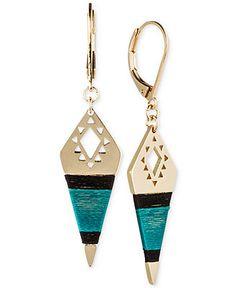 RACHEL Rachel Roy Gold-Tone Teal Thread Wrapped Drop Earrings - Fashion Jewelry - Jewelry & Watches - Macy's