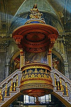 Pulpit Of Saint Sulpice In Paris, France by Richard Rosenshein