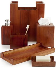 Hotel Collection Teak Wood Bath Accessories, Only at Macy's - Bathroom Accessories - Bed & Bath - Macy's