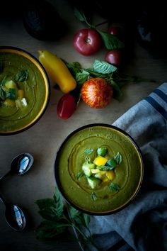 Creamy Heirloom Tomato and Avocado Gazpacho. A refreshing, easy summer soup!