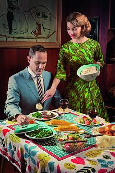 Richard Smith - 60's interior - Love the table cloth as well as the vibrant colour(s) of the dress ...