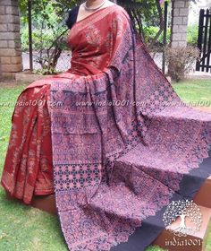 Elegant Cotton Saree With Ajrakh Block Printing