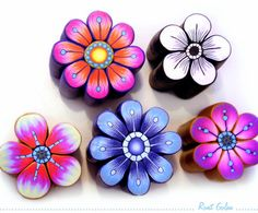 New Polymer Clay Flower Canes by Ronit Golan