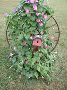 top 33 amazing bike wheels craft ideas diy to make have old metal buggy wheel to do this delivers online tools that help you to stay in control of your personal information and protect your online privacy. Morning Glory Plant, Morning Glories, Flea Market Gardening, Deco Nature, Garden Trellis, Garden Arbor, Dream Garden, Yard Art, Garden Projects